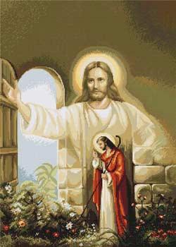 Вышивка крестом Иисус стучащийся в дверь